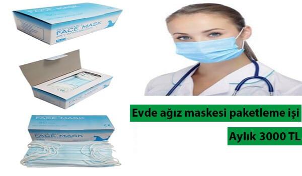 Evde ağız maskesi paketleme işi