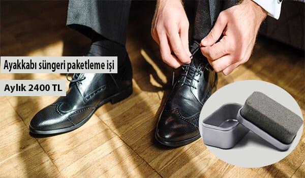 Evde ayakkabı süngeri paketleme işi