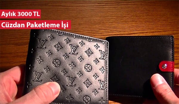 Evde erkek cüzdanı paketleme işi