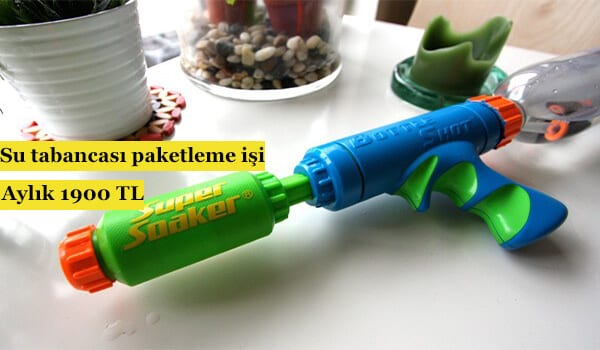 Evde su tabancası paketleme işi