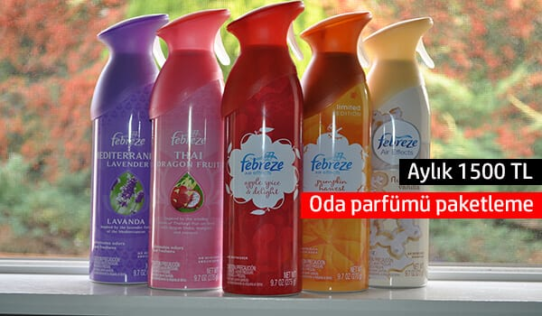 Evde oda parfümü paketleme işi