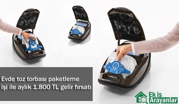 Evde süpürge toz torbası paketleme işi