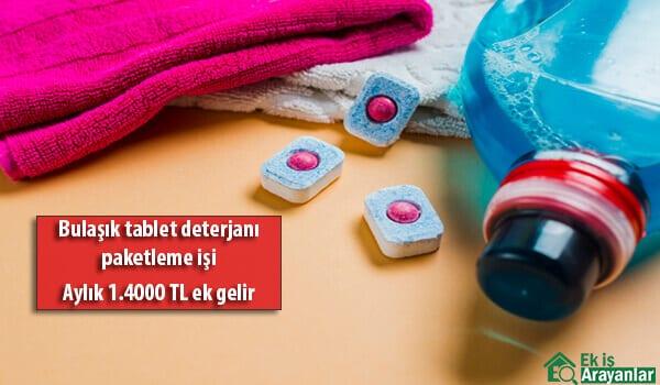 Evde bulaşık tablet deterjanı paketleme işi