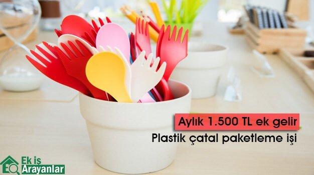 Evde plastik çatal paketleme işi